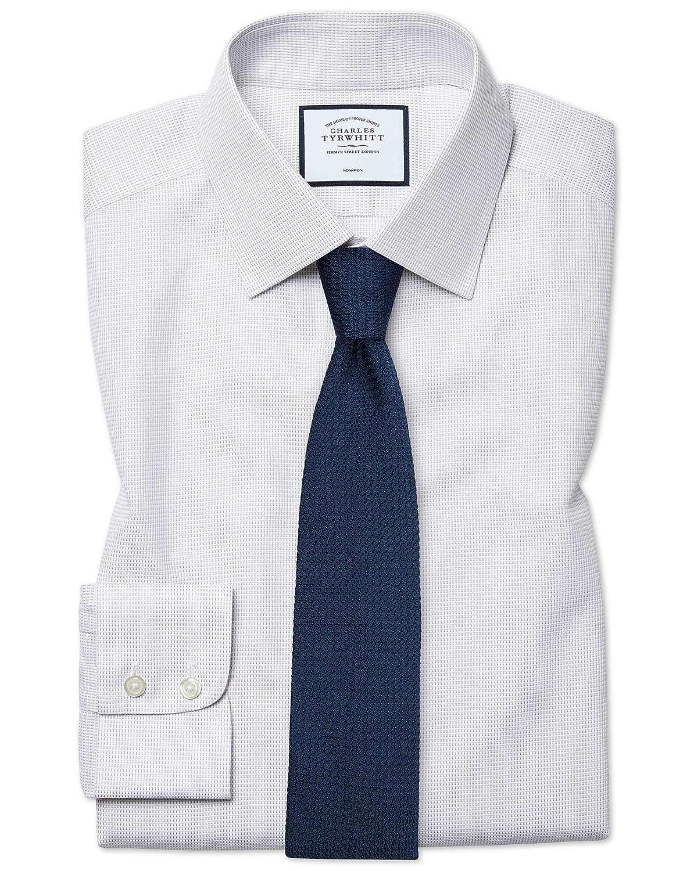 Chemise à Motif à Effet Tirets grise Coupe Droite Sans Repassage   gris (Poignet Mousquetaire)   15.5   35