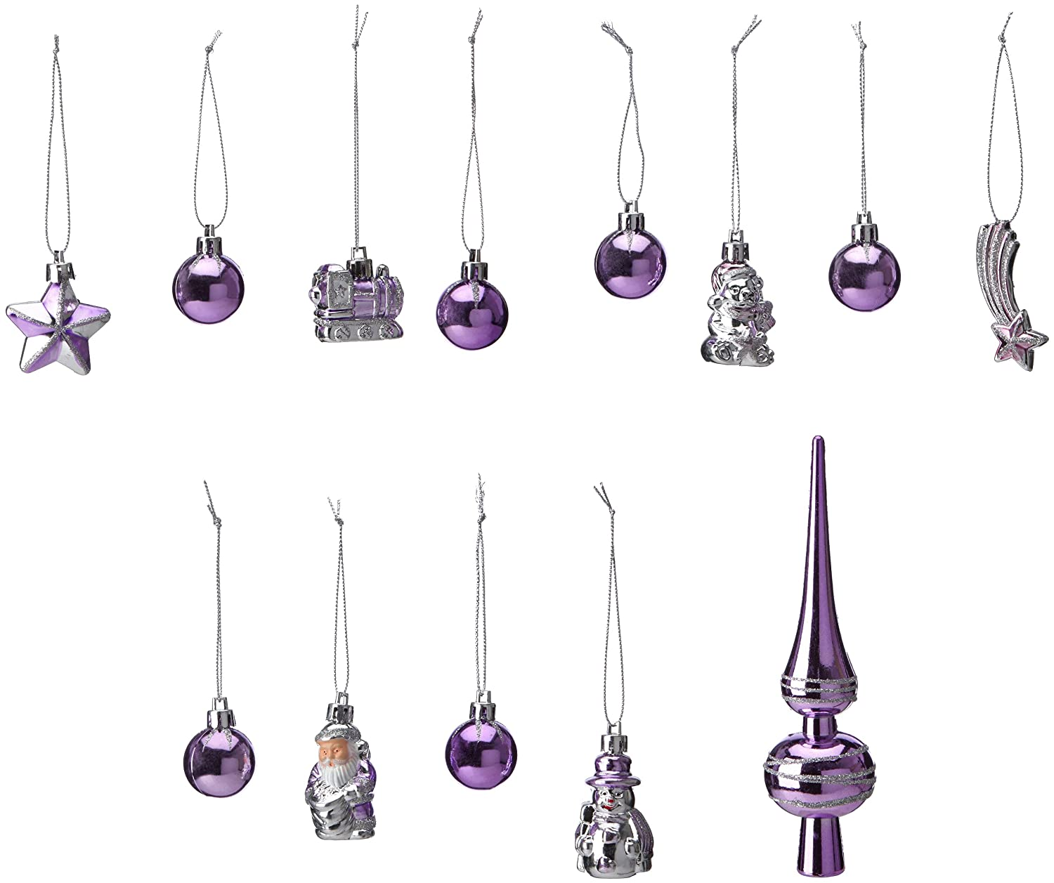 Brauns-Heitmann 83100 13-Piece Assorted Christmas Tree Decoration Set with Tree Top Cone 3.5 cm to 14.5 cm Silver and Purple