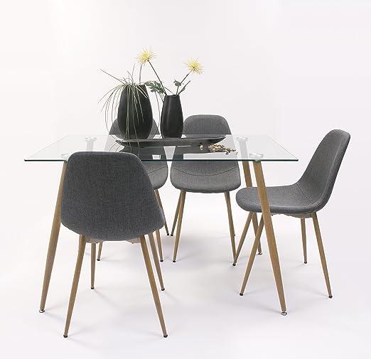 Conjunto de Comedor Cairo con Mesa de Cristal de 120x80 + 4 sillas ...