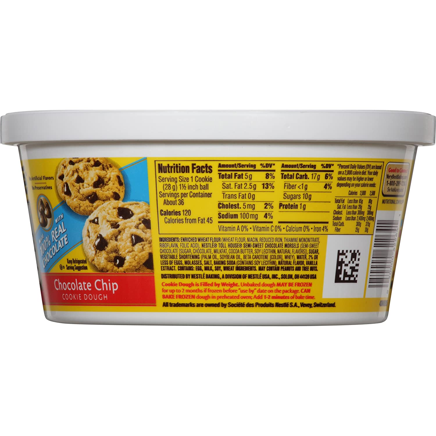 Toll House, Chocolate Chip Cookie Dough Tub, 36 oz: Amazon.com ...