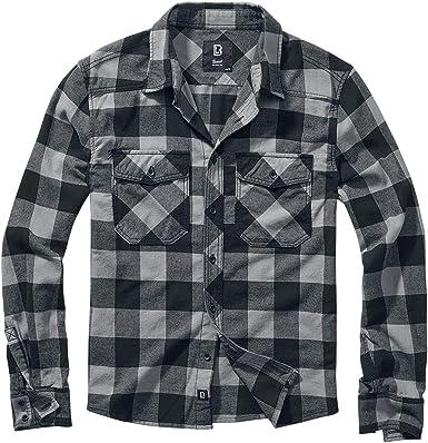 Brandit Camisa a Cuadros Hombre Camisa de Franela Negro/Gris Marengo, Regular