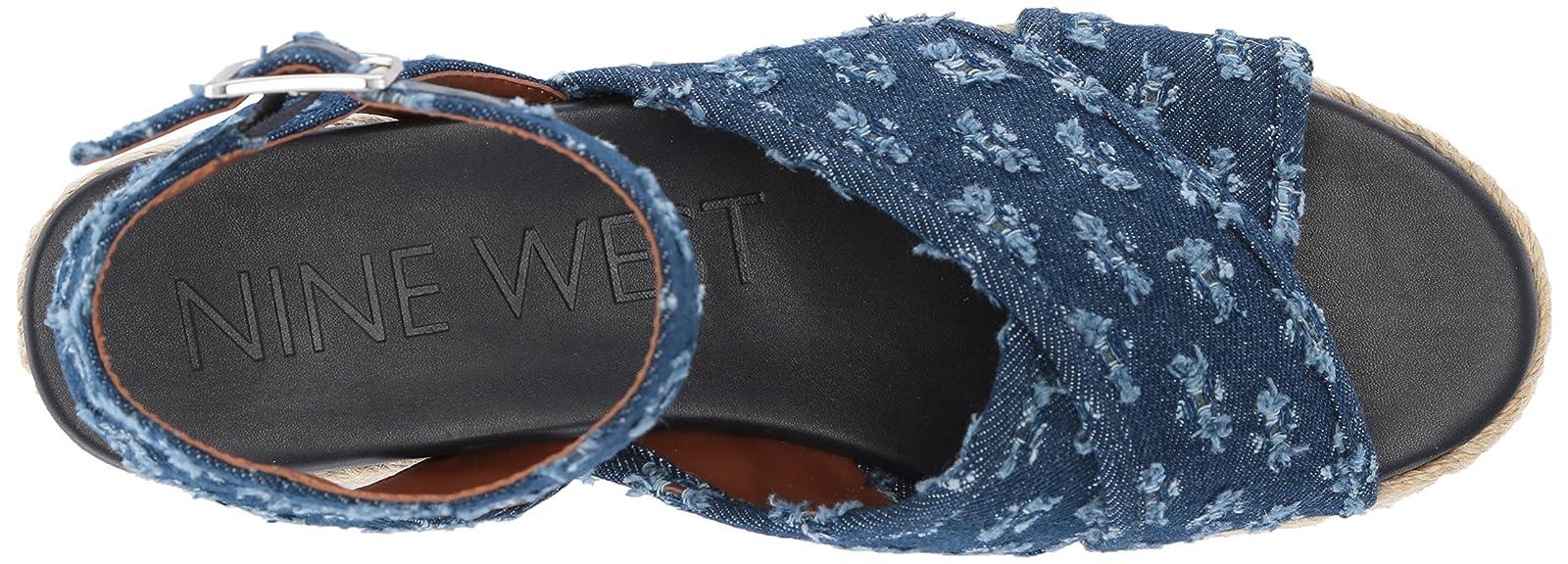 09d1ed19aa32 ... Nine West Women s SHOWRUNNER Denim Sandal 9 M US - 7 ...