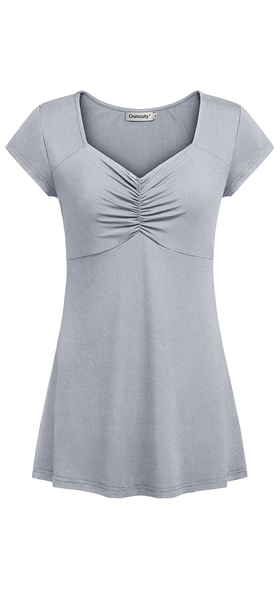 Women Boat Neck Pleated Bust Cap Sleeve Tunic Blouses