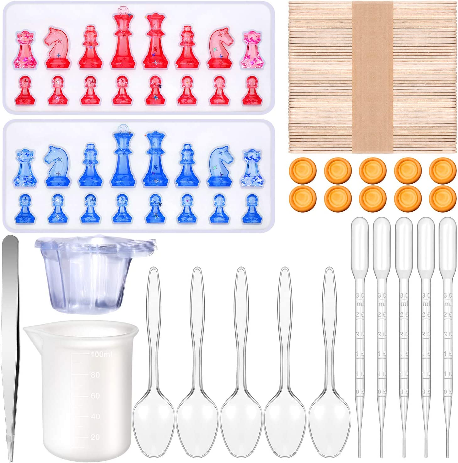 84 Pieces Chess Shape Mold Set, Including Chess Silicone Mold Chess Shape Resin Mold with DIY Making Tools for Craft Project Decoration DIY Supplies