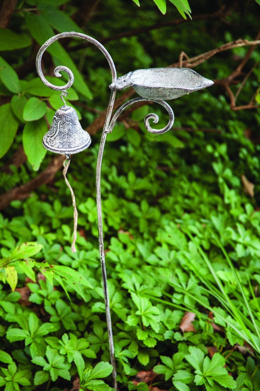 MW Garden Stake Bell Birdfeeder Leaf Set of2 12.5X4.25X37.5