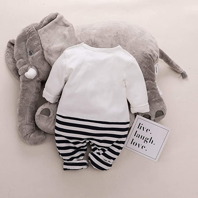 4432a539b4f7 Amazon.com  Yaffi Baby Outfit Full Sleeve Striped Elephant Jumpsuit ...