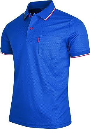 BCPOLO Men's Polo Shirt 1 Chest Pocket Dri Fit Athletic Polo Shirt Short Sleeve Various Polo Shirt