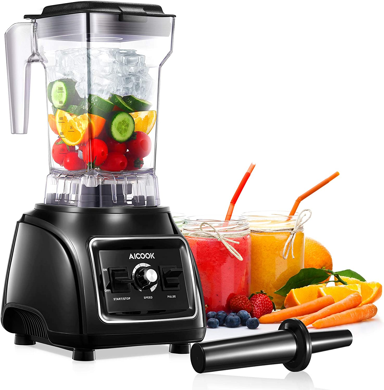 Countertop Blenders Smoothie Blender Maker for Kitchen Ice Crush Blender for Shakes and Smoothies Frozen Fruit with 32oz BPA Free Tritan Pitcher, 316 Stainless Steel Blades, Peak 1800W, AICOOK