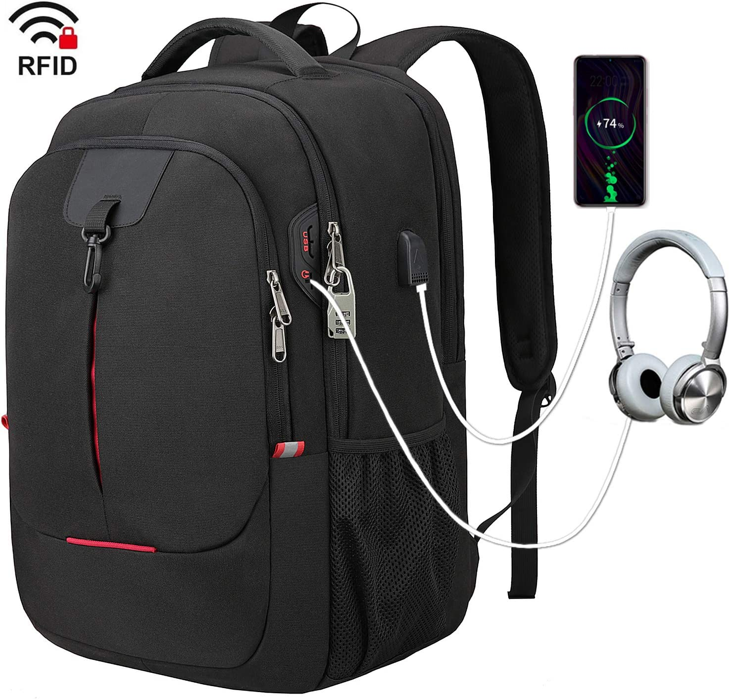 Laptop Backpack Anti-Theft Large School Bookbag for College Travel Business L...