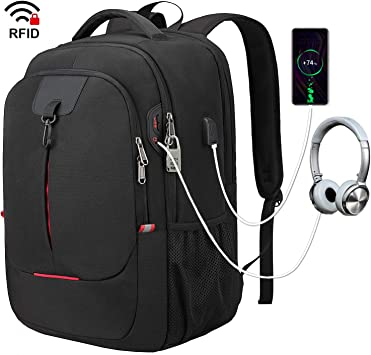 17.3 Inch Laptop Backpack with USB Charging Port  Travel Backpack for Men//Women