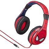 eKids Spiderman Kids Headphones, Adjustable Headband, Stereo Sound, 3.5Mm Jack, Wired Headphones for Kids, Tangle-Free, Volume Control, Foldable, Childrens Headphones Over Ear for School Home, Travel