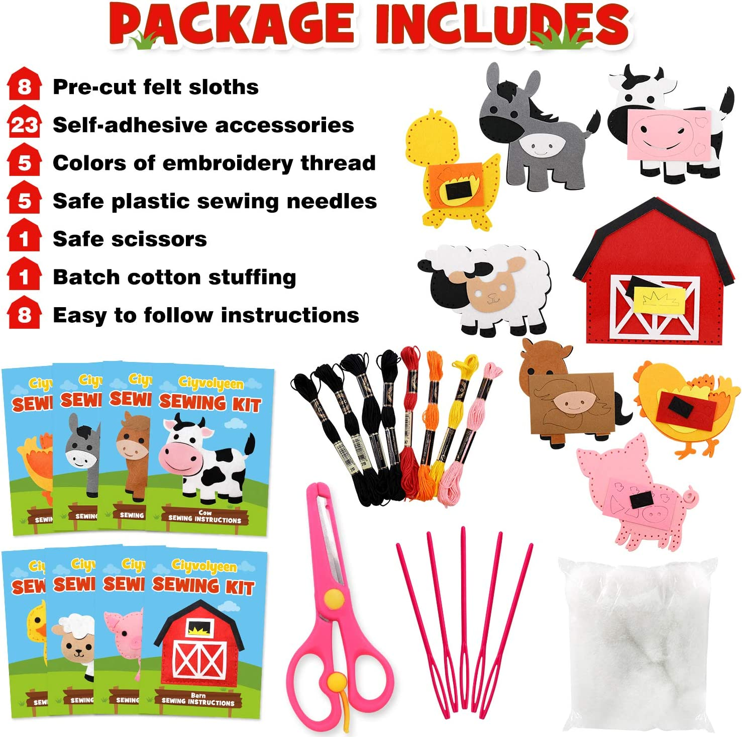 CiyvoLyeen Farm Animals Sewing Craft Kit Felt Animal DIY Craft Sewing Kit for Girls and Boys Educational Sewing Kit for Kids Age 7 to 12 Craft Kit Includes 8 Projects