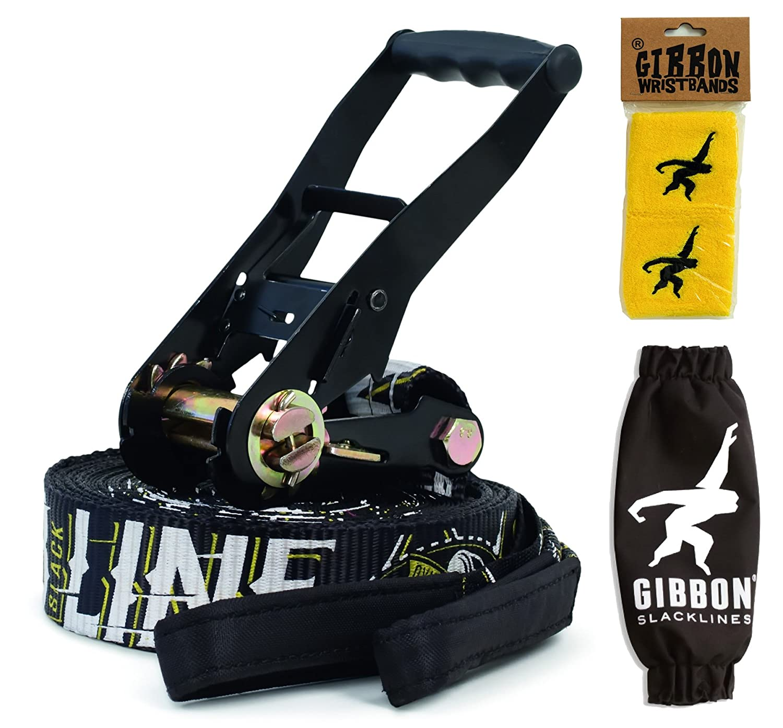 15m JIB LINE X13 Gibbon Slackline Set - jib line - extra bounce for tricks + wristbands bundle