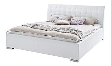 64fb4a33b7 sette notti Polsterbett 140x200 cm Weiß, Bett mit XXL Kopfteil,  Boxspringbett-Optik,