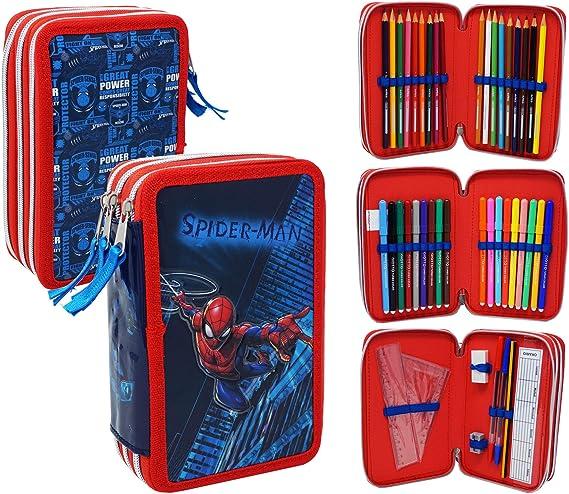 Spiderman SP0632 - Estuche triple relleno, 44 accesorios escolares, fila, chaleco, 20 centímetros: Amazon.es: Oficina y papelería