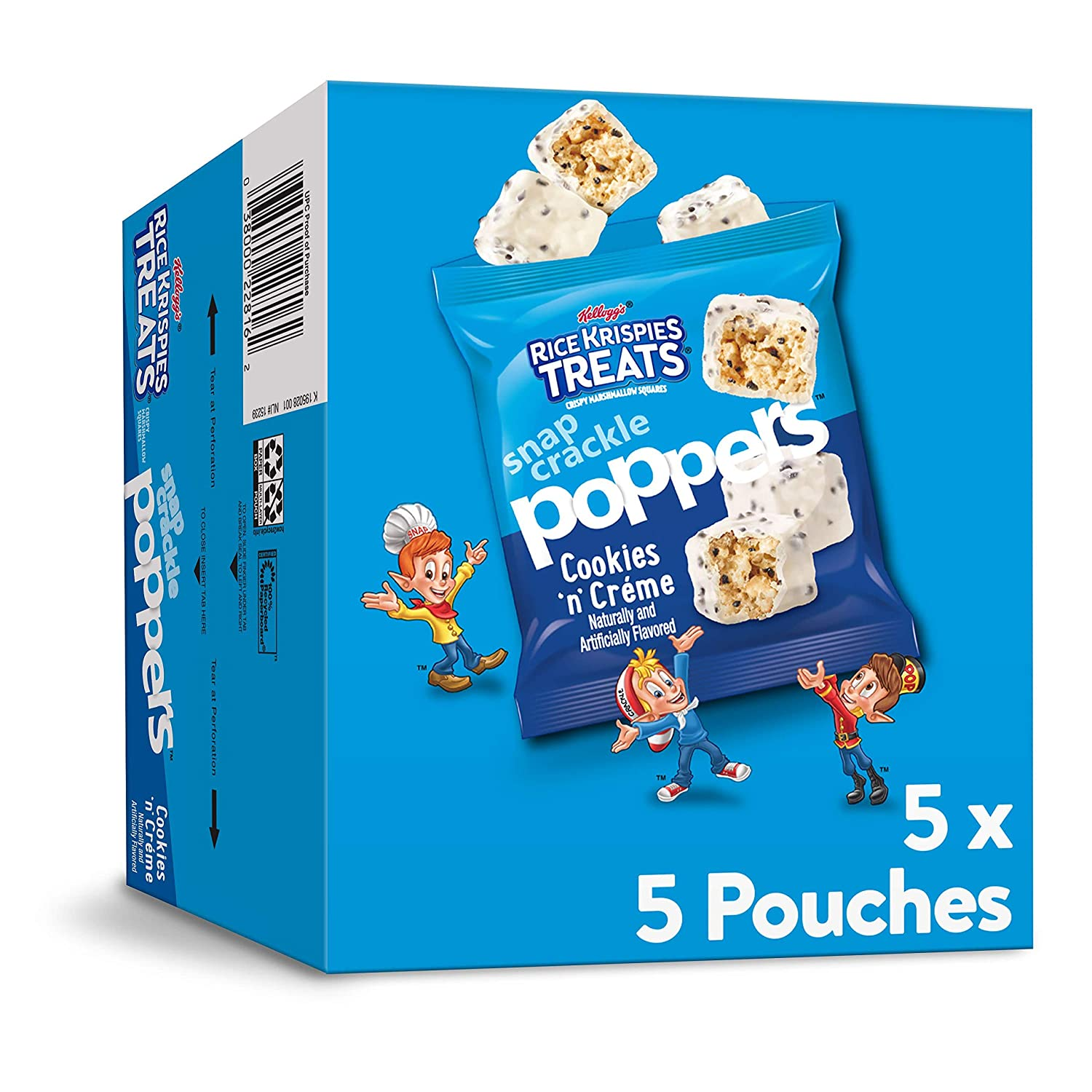 Kellogg's Rice Krispies Treats Snap, Crackle, Poppers, Crispy Marshmallow Squares, Cookies n' Crème, 5oz Carton (Pack of 5, 25 pouches)