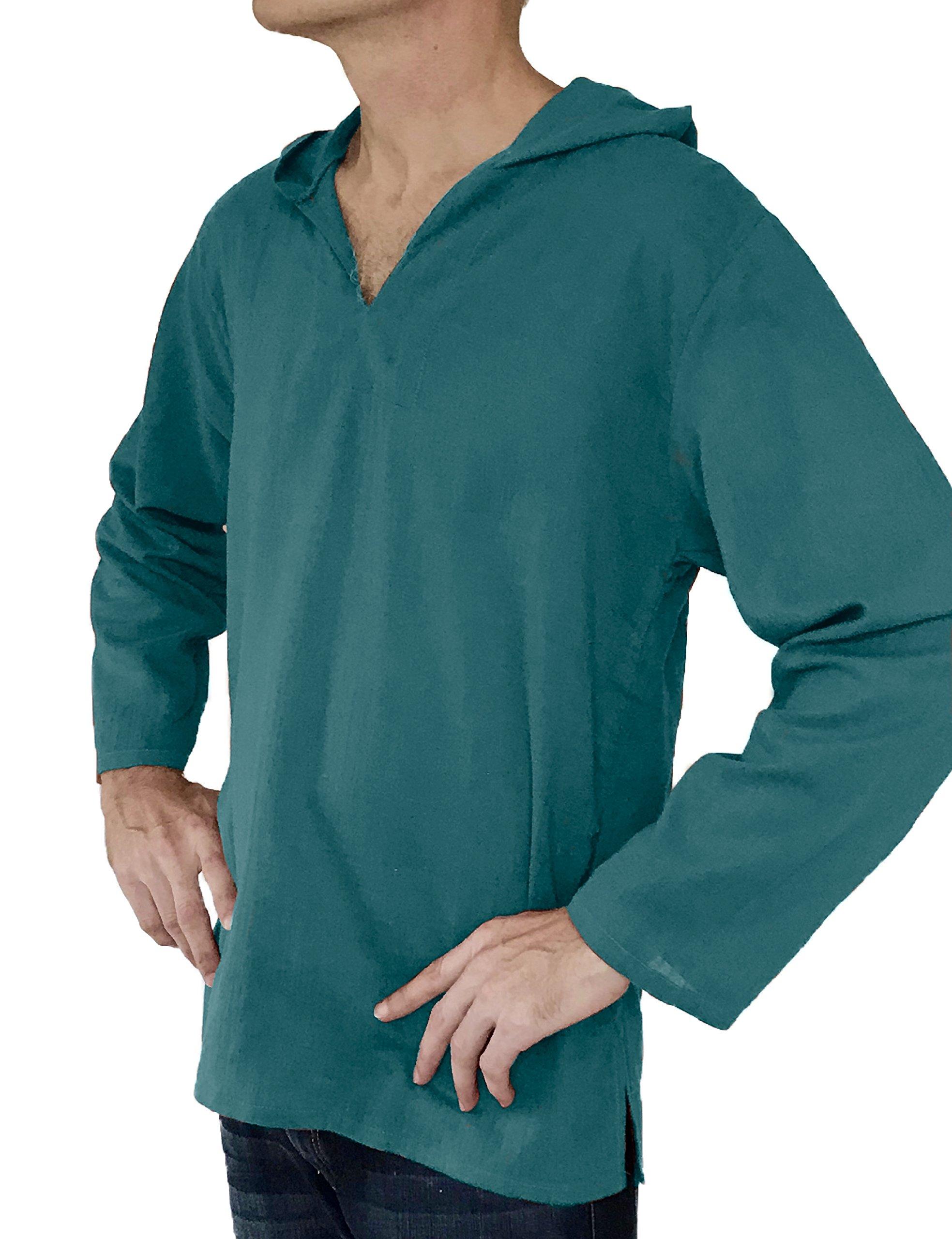 Love Quality Men's Hoodie Hippie Shirts Beach 100% Soft Cotton Top Yoga Shirt Boho (XX-Large, Teal)