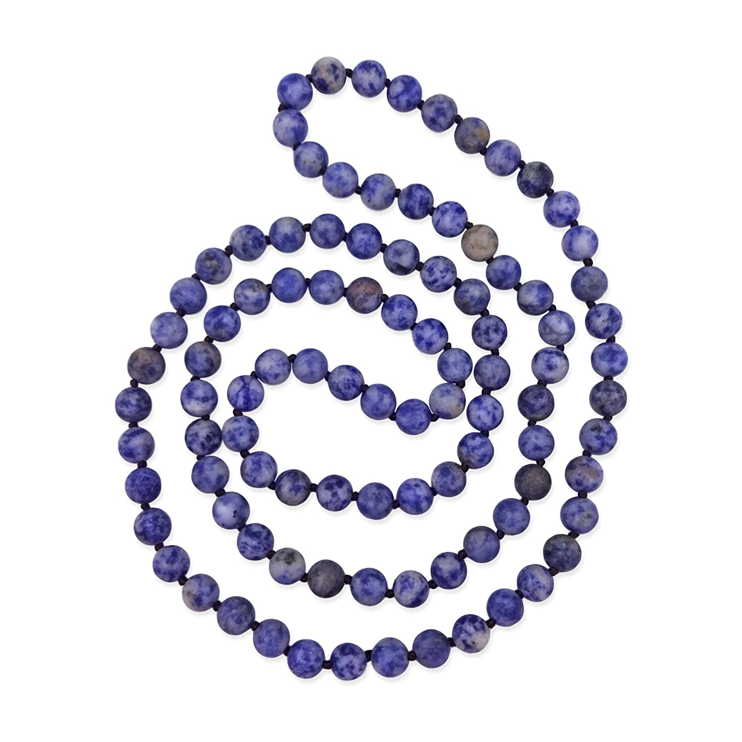 MGR 36 Inch 8MM Matte Fininsh Genuine Semi-Precious Stone Endless Infinity Long Beaded Strand Necklace. 8MM Matte Finish Stone
