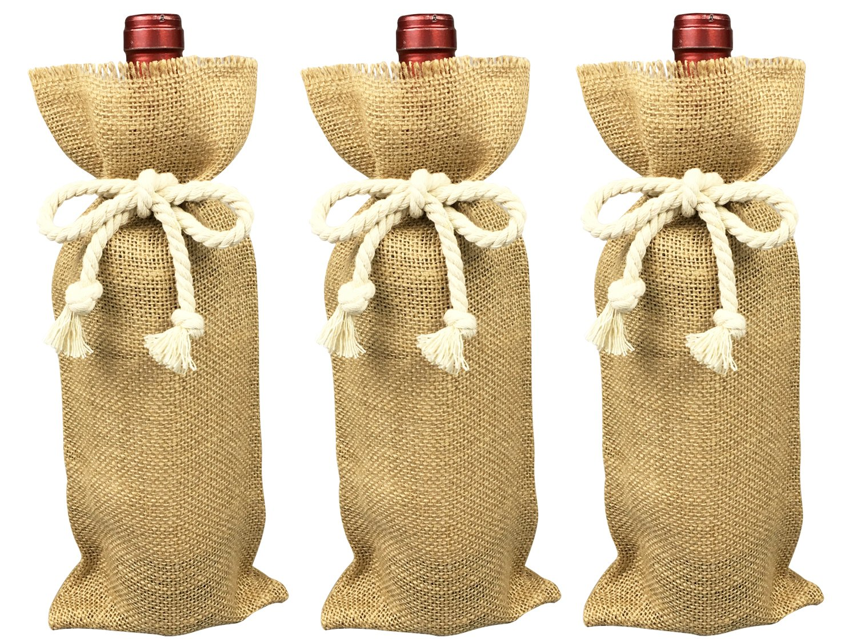 Jute Burlap Wine Bags,3 Pack