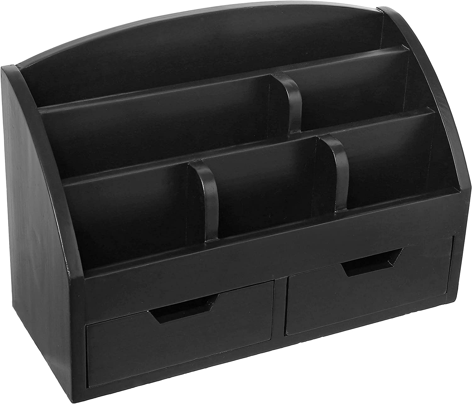 Modern Black Wood 6-Compartment Desktop Organizer, 2-Drawer Office Supplies Desk Caddy