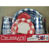"""Celebrate! Party Pack - Grill & Chill Design: 127 pc Package (25 Dinner Plates, 25 Dessert Plates, 50 2-ply Napkins, 26 (9oz) Cups & 1 (54x108"""") Tablecover)"""