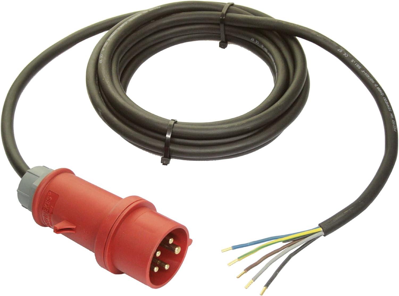 colore: Nero Cavo di collegamento CEE 400V // 16A as IP44 per uso esterno e per cantieri Schwabe 70977 3 m H07RN-F 5G1,5