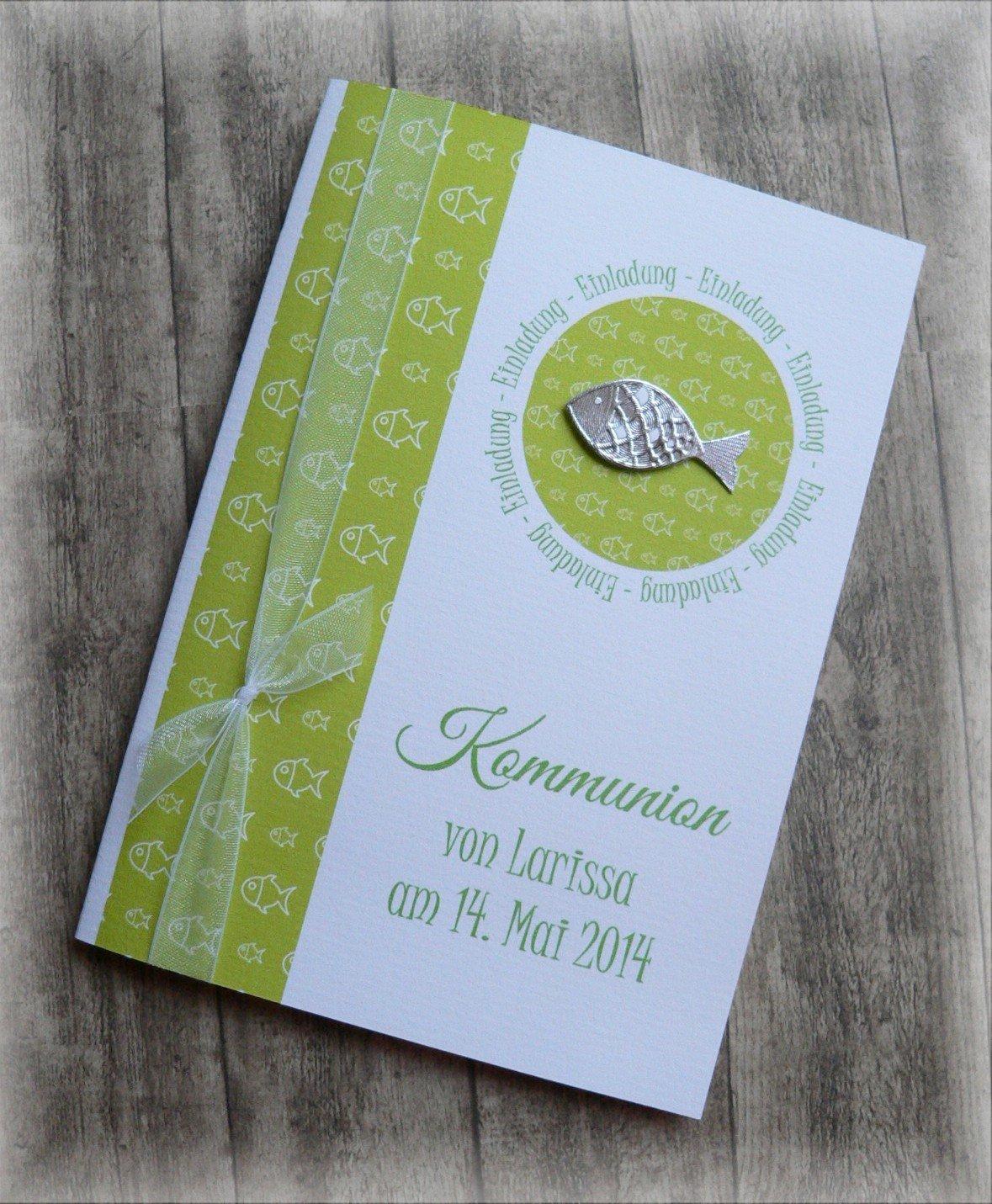 Einladung Einladungskarte Kommunion Konfirmation Taufe Fisch silber grü n