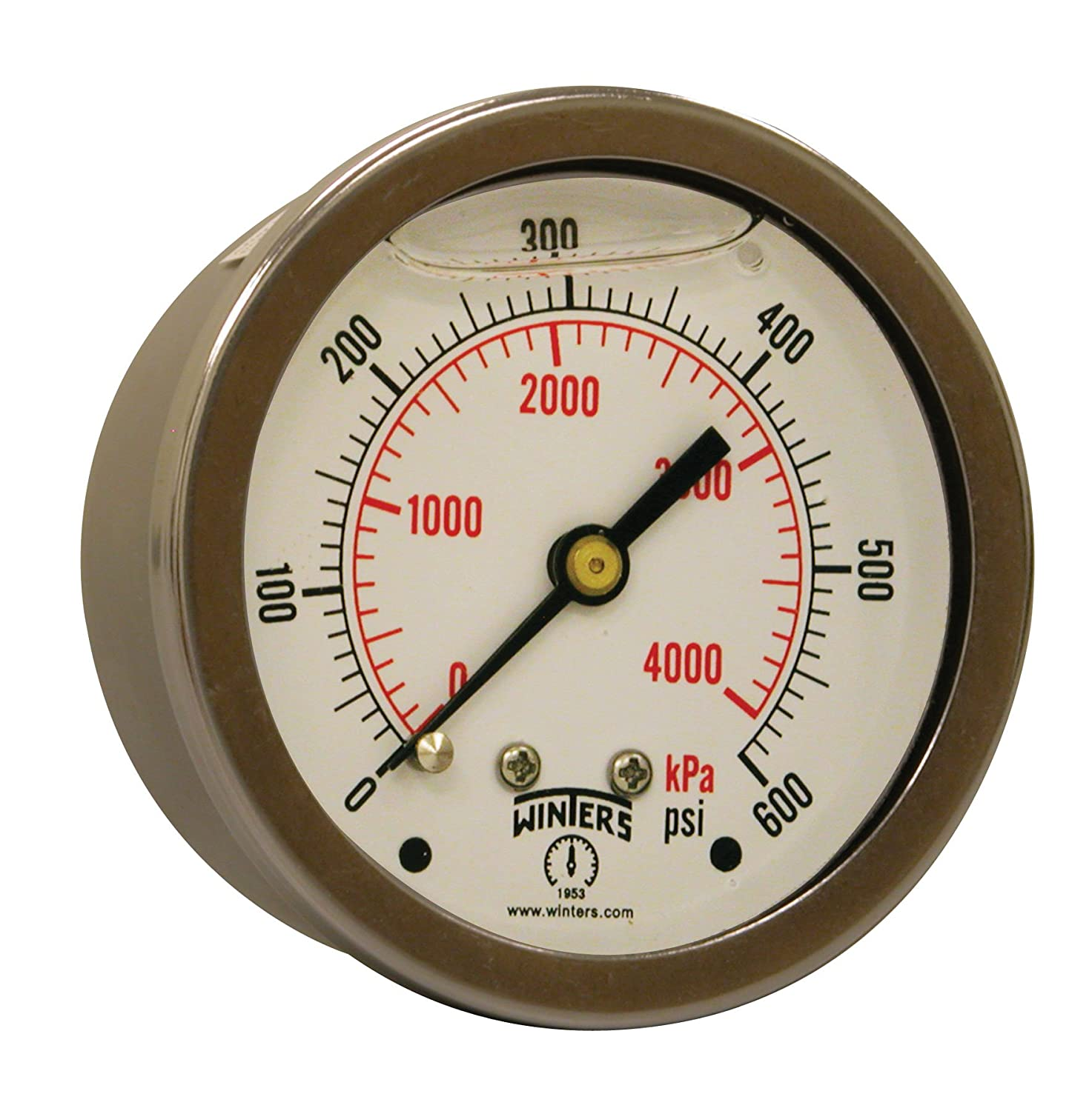 Winters PFQ Series Stainless Steel 304 Dual Scale Liquid Filled Pressure Gauge with Brass Internals, 0-600 psi/kpa,2-1/2