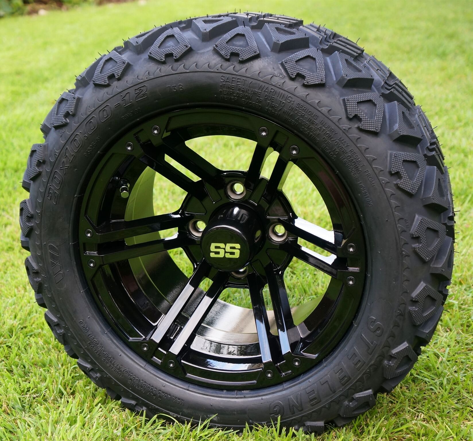 12'' TERMINATOR Gloss Black Golf Cart Wheels and 20x10-12 DOT All Terrain Golf Cart Tires - Set of 4 - NO LIFT REQUIRED (read description)