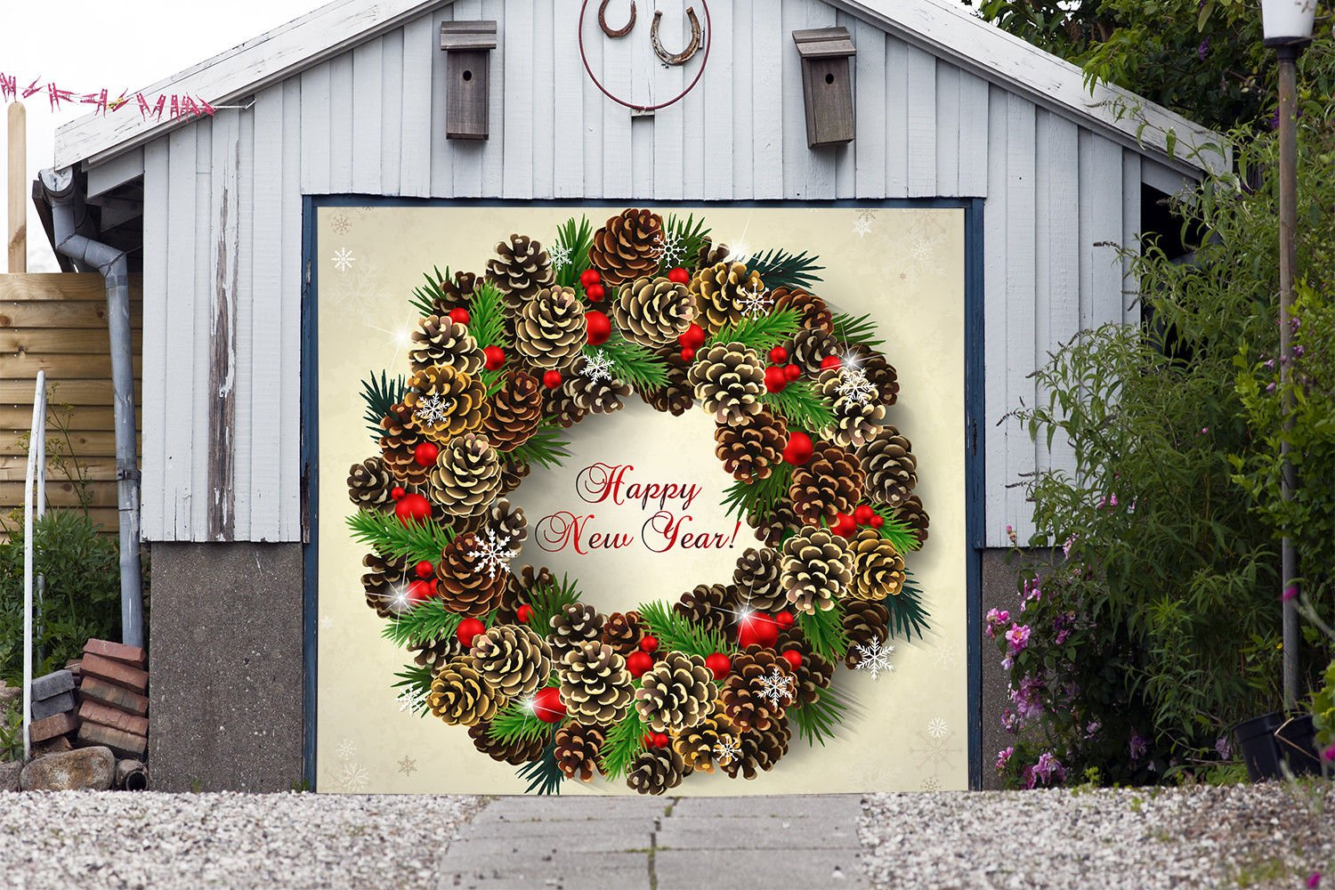 Wreath Christmas Full Color for SINGLE CAR GARAGE Holiday Banner DOOR MURALS Covers Outdoor Decor Billboard 3D Effect Print Decorations of House Garage Door Cover Size 83 x 89 inches DAV204