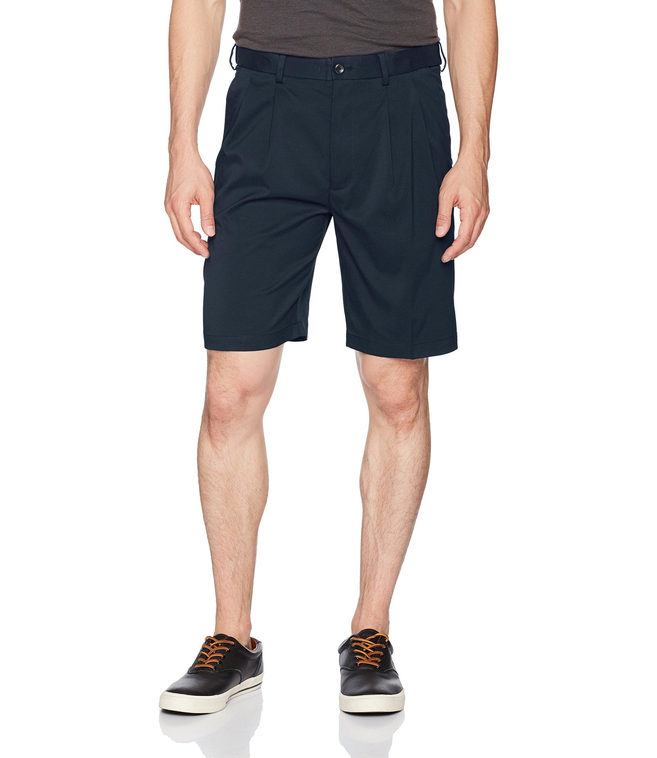 Savane Men's Pleated Mirco Fiber Short, Total Eclipse, 38