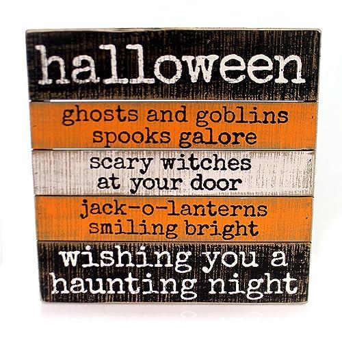 Halloween WISHING HAUNTING NIGHT SIGN Wood Ghosts Goblins Jack-O-Lantern 35809