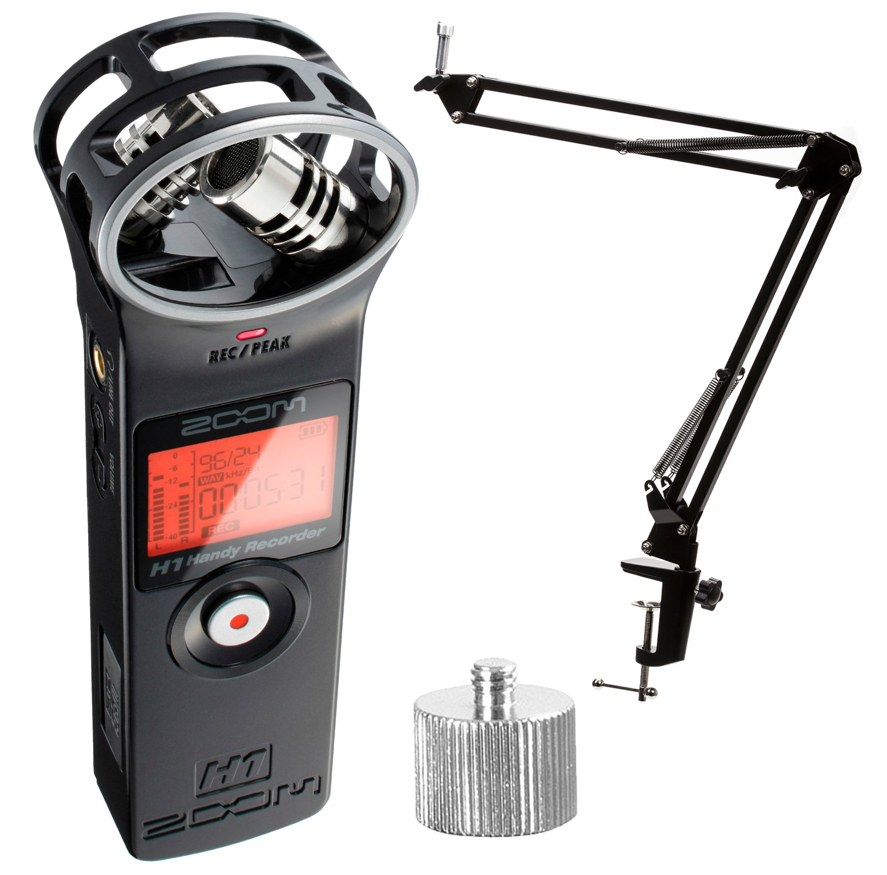 Zoom H1 Ultra-Portable Digital Audio Recorder with Knox Boom Arm (w/ Studio Boom Arm)
