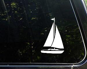 "Sweet Tea Decals Sailboat - 3 3/4"" x 5 3/4""- Vinyl Die Cut Decal for Windows, Trucks, Cars, Laptops, Glasses. Mugs, Etc."