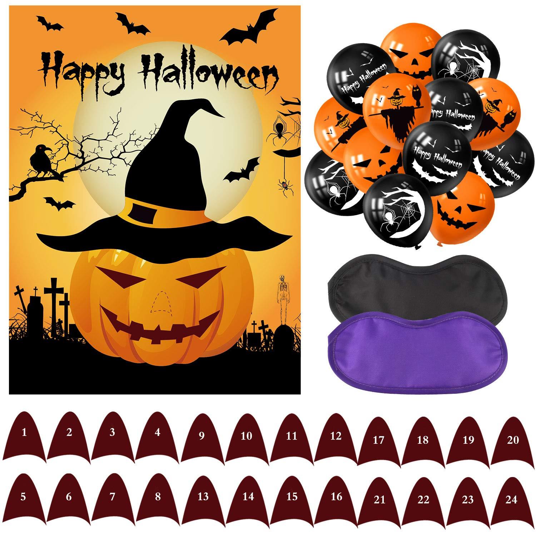 Decoraciones de Halloween Tuparka Fije la Nariz en los Juegos de la Fiesta de Halloween de Calabaza con 24 narices y 20 Piezas de Globos de Halloween para Decoraciones de Halloween