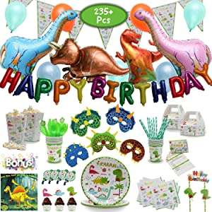 Imagine's Complete Dinosaur Party Supplies Set – 230 Piece Dinosaur Themed Birthday Supplies Pack with Dinosaur Balloons, Masks, Party Favors for Kids, MORE – Dinosaur Sleepover Supplies for 15