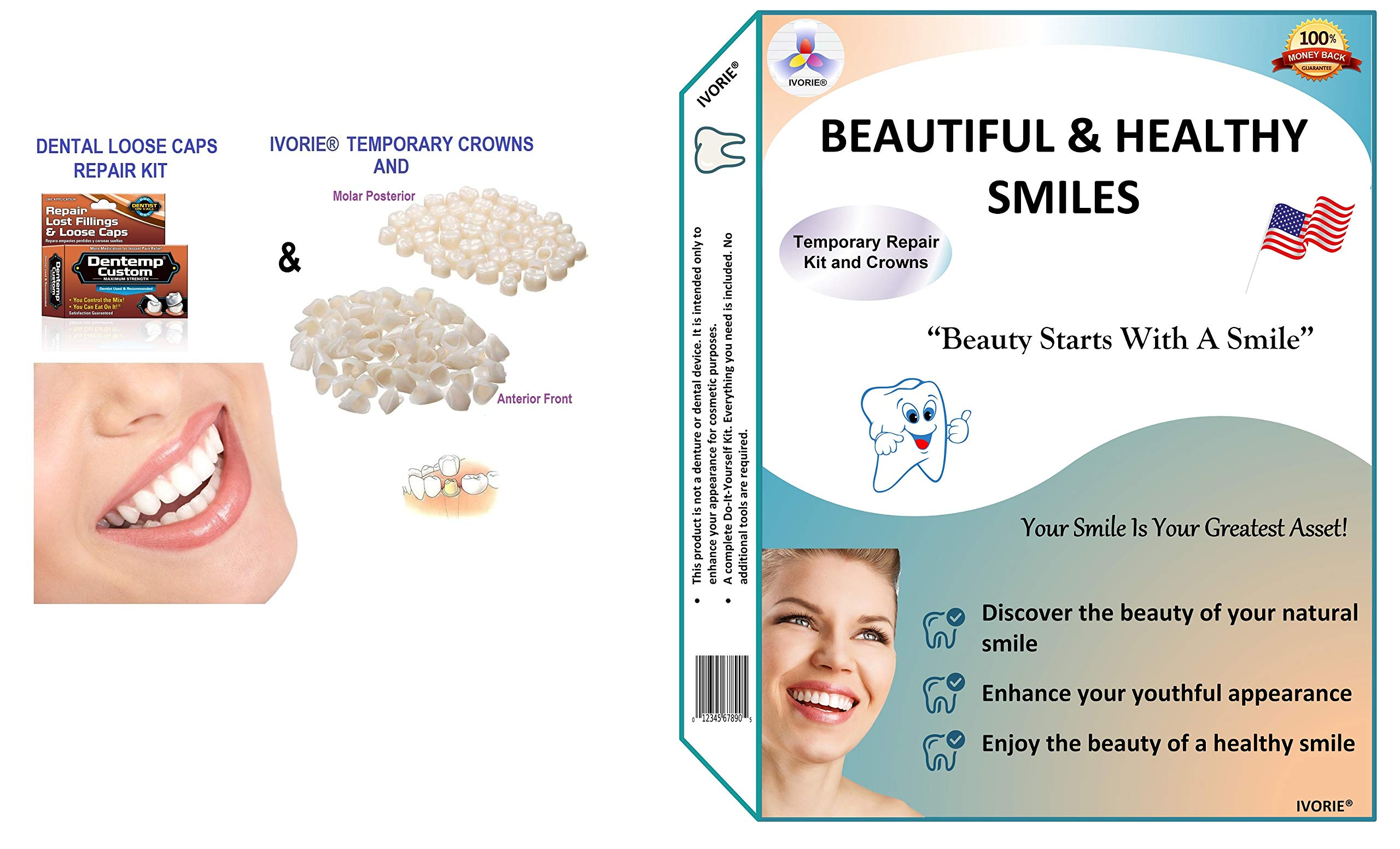 Maximum Strength Dental Loose Caps Repair Kit and Temporary Teeth Crowns Home Use (Posterior Molar Teeth)