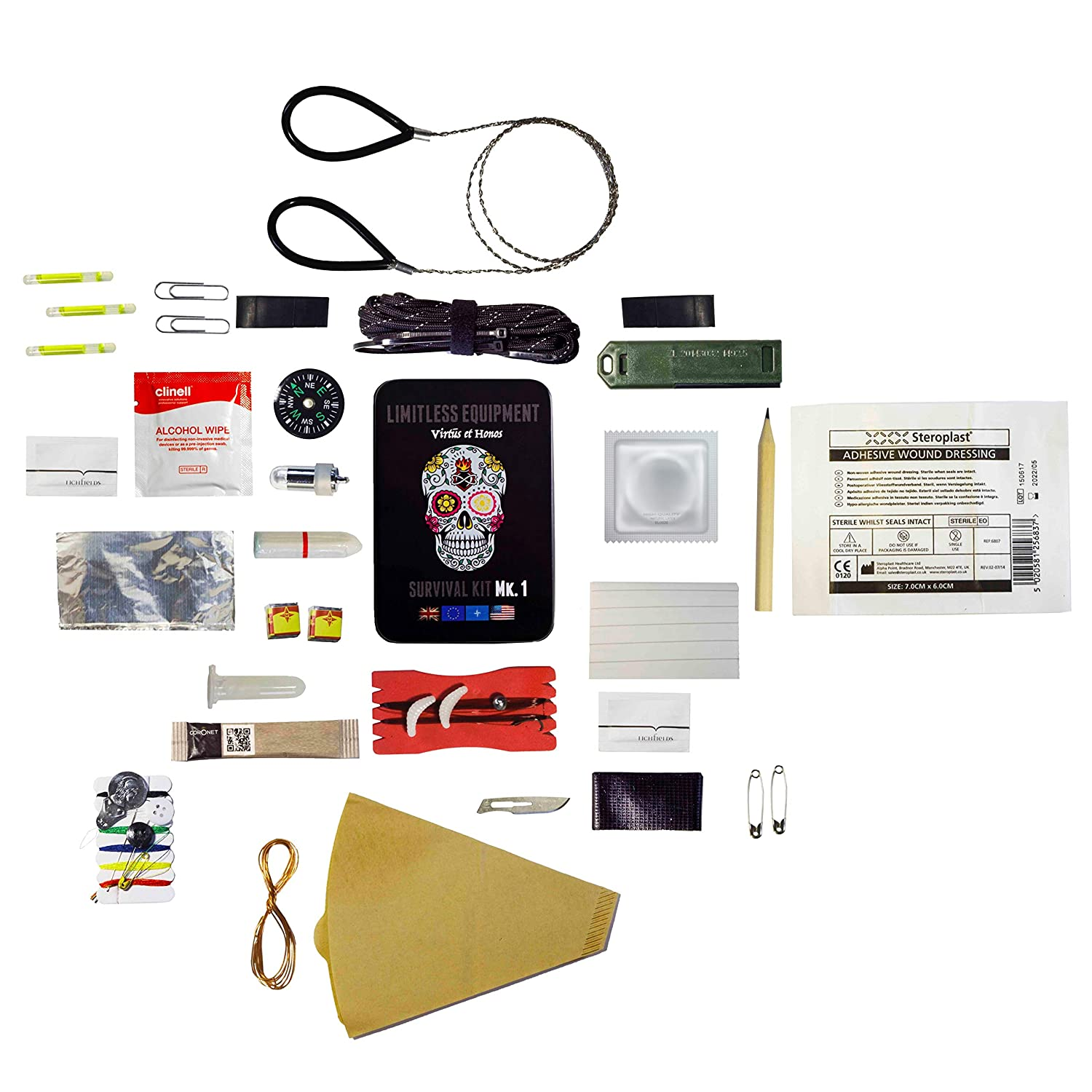 Limitless Equipment Mark 1 Survival Kit UK Made, Pocket Size, pro Level Gear. 40 Items inc. Emergency LED, Fishing kit, fire Making, firecord and More