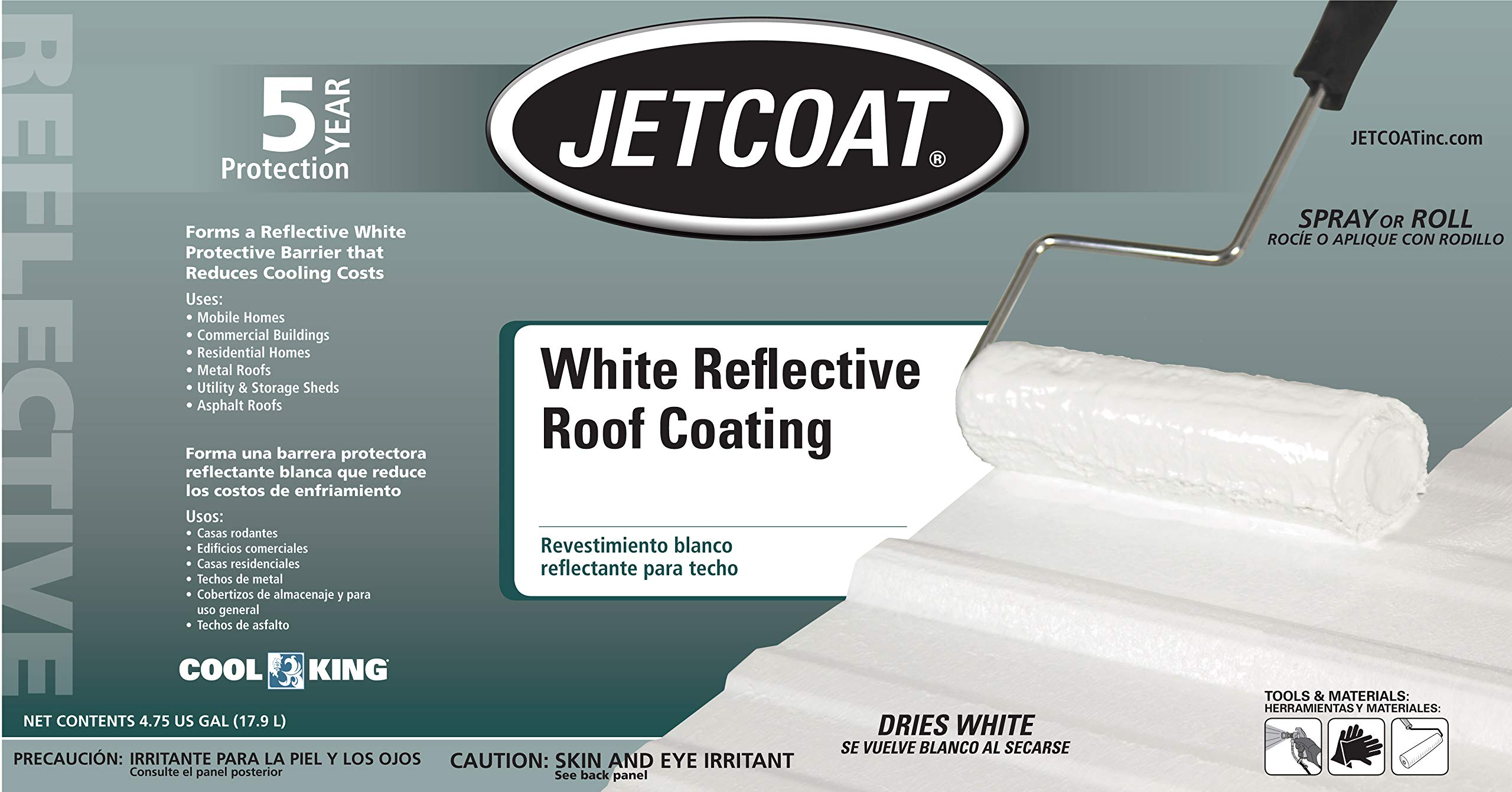 Jetcoat Cool King Elastomeric Acrylic Reflective Roof Coating, White, 5 Gallon, 5 Year Protection by Jetcoat (Image #4)