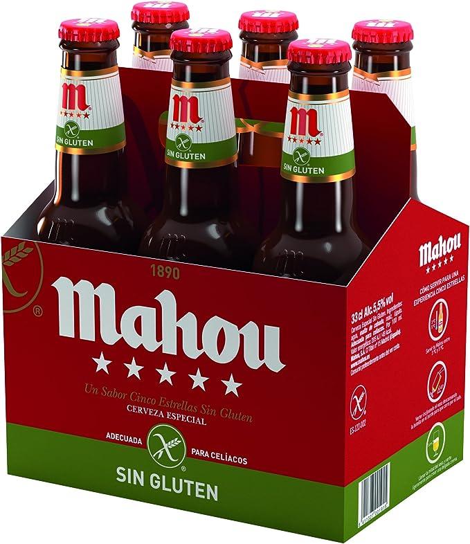 Mahou 5 Estrellas Cerveza Especial sin Gluten, 5.5% de Volumen de Alcohol - Pack de 6 x 33 cl: Amazon.es: Alimentación y bebidas