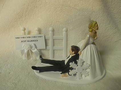 Amazon.com: Wedding Cake Topper Custom Winter Snowflake Just Married ...