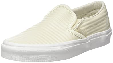 Vans Classic Slip-on, Chaussures de Running Femme, Ivoire (Birch/Blanc de Blancmoto Leather), 34.5 EU