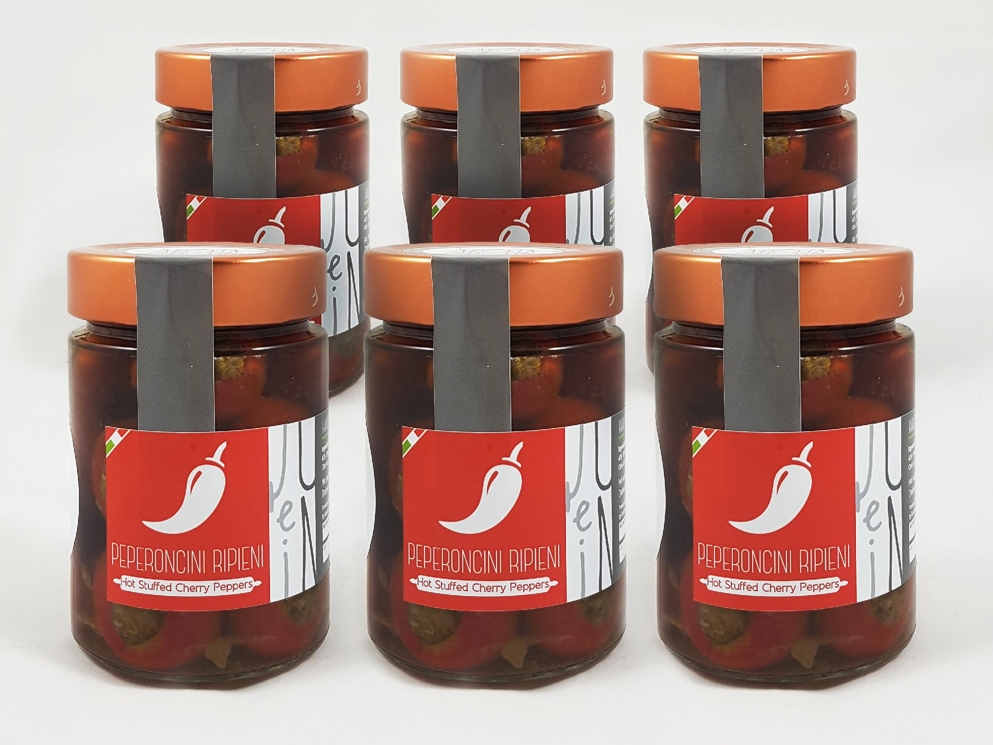 Hot Stuffed Cherry Peppers with Olives, Capers and Anchovies in E.V.O. Oil pack of 6