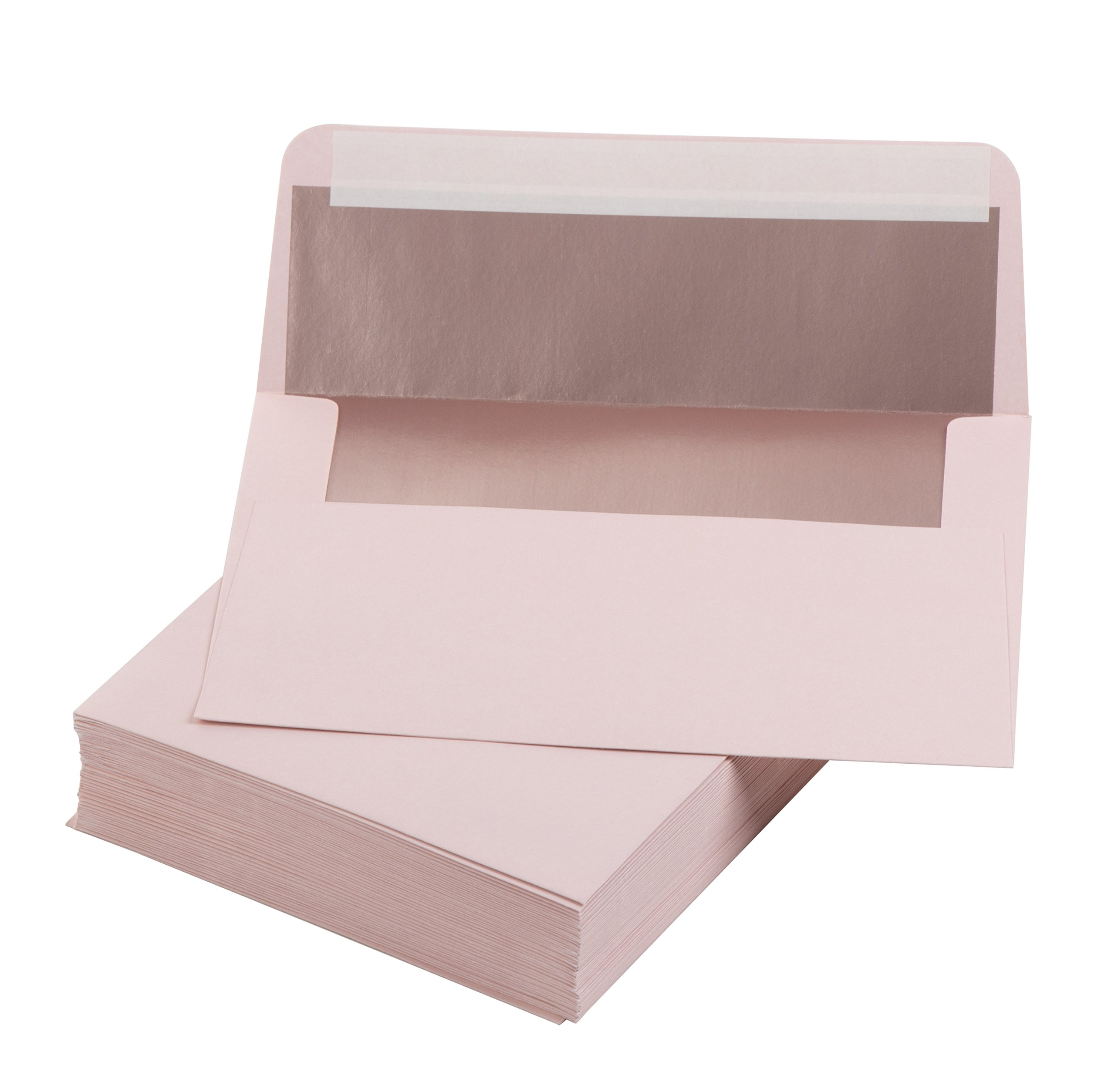 5x7 Envelopes for Invitation- 50-Pack A7 Rose Gold Foil Lined Square Flap Envelopes, Envelopes for Announcements, Photos, Wedding, Graduation, Birthday, Blush with Rose Gold Foil by Best Paper Greetings
