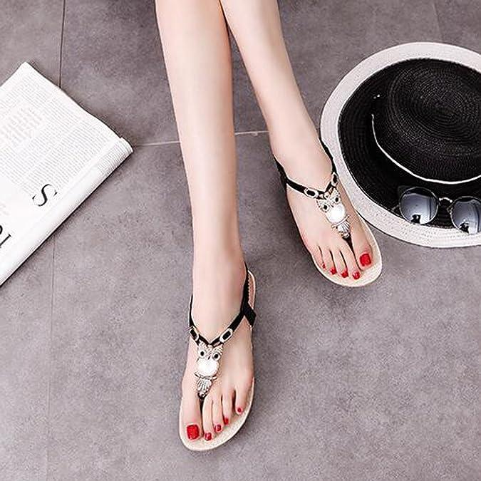 Women's Bohemian Beaded Ankle Strap Sandal Summer Beach Sandals Flip Flops  Flat Shoes: Amazon.co.uk: Shoes & Bags