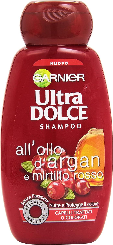 Champú Garnier Ultra Dolce con aceite de argán y arándano rojo, para cabello tratado o teñido, 250 ml