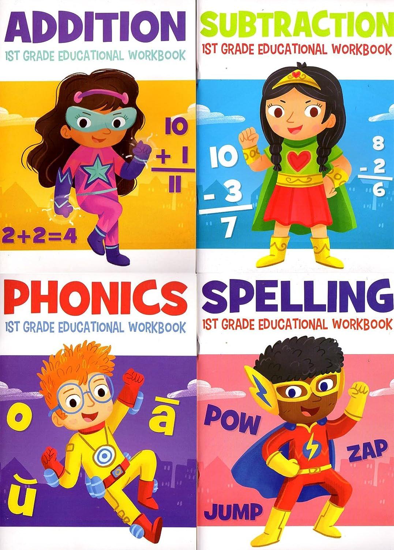 Amazon.com: Educational Workbooks - First Grade - Set of 4 Books ...