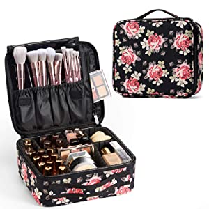 Stagaint Makeup Travel Case Cosmrtic Bag with Adjustable Dividers for Cosmetics Makeup Brushes Toiletry Jewelry Digital Accessories Storage Organizer Portable Makeup Bag - Flower