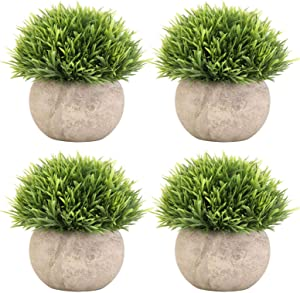Tecbeauty 4 Pcs Artificial Plants Fake Grass Topiaries Potted Plants for Bathroom Home Office Decor, Green