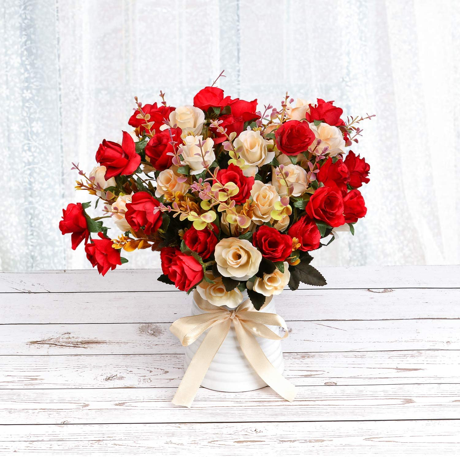 LY EMMET Artificial Rose Bouquets with Ceramics Vase Fake Silk Rose Flowers Decoration for Table Home Office Wedding-Red